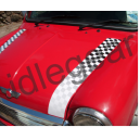Classic Mini Bonnet Stripes Faded Black and White Chequered.