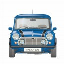 Classic Mini Italian Job Limited Edition Blue Printed Cushion