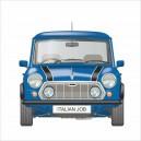 Classic Mini Italian Job Limited Edition Blue Printed Cushion