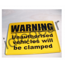 Unauthorised vehicles will be clamped sign