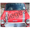 Classic Mini Printed Black & White Chequered Bonnet Stripes